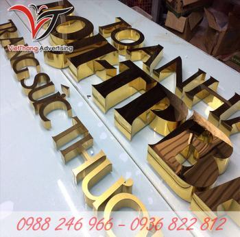 Chữ inox gương vàng
